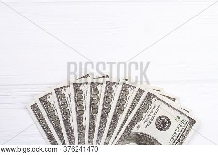 Stack Of One Hundred Dollar Bills On White Background. Cash Money Paper, Financial Fan Salary.
