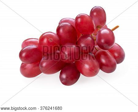 Ripe Red Grape Branch Isolated On White. Grapes. Full Depth Of Field. Clipping Path Included