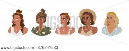 Vector Colorful Set With Illustrations Of Cute Young Girl With Different Fashionable Hairstyles And