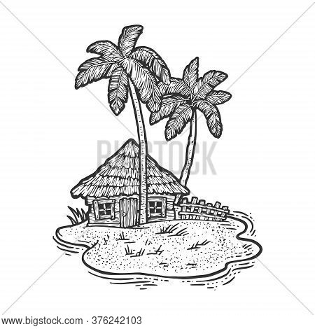 Uninhabited Island In Ocean With Hut And Palm Trees Sketch Engraving Vector Illustration. T-shirt Ap