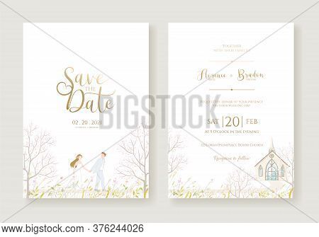 Wedding Invitation, Save The Date, Thank You, Rsvp Card Design Template. Vector. Bride And Groom Go