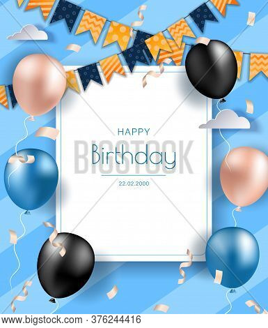 Birthday banner with realistic balloons.  Happy birthday illustration, Happy birthday banner, Happy birthday background, Happy birthday card. Celebration birthday party invitation background with greetings and colorful balloons and birthday elements.