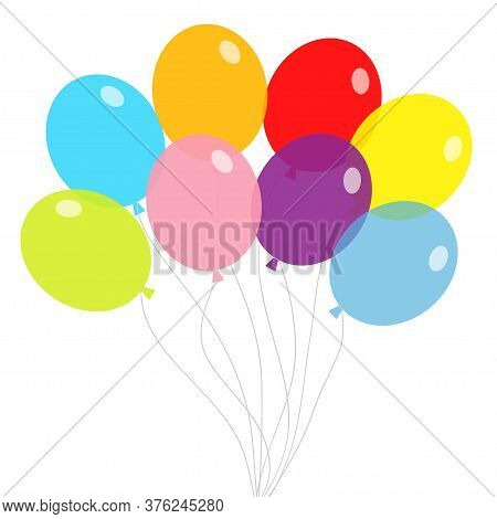 Balloon Set. Bunch Of Balloons. Colorful Transparent Helium Toy On String Thread. Flying Through The
