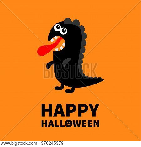 Happy Halloween. Dinosaur Monster Silhouette. Cute Cartoon Kawaii Sad Character Icon. Tongue, Eyes,