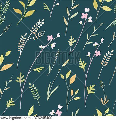 Botanical Floral Seamless Pattern On Dark Green Background. Greenery Texture.