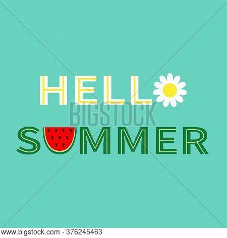 Hello Summer Text. Camomile Daisy Chamomile Watermelon Icon Letter. Healthy Food, Flower. Slice Cut