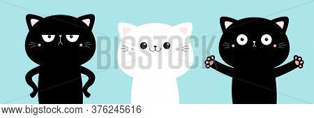 Black White Cat Icon Set. Cute Kawaii Cartoon Character. Funny Kitten Kitty Giving A Hug, Angry. Hap