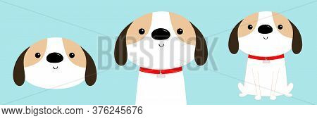 Dog Face, Body, Sitting Puppy Icon Set. Red Collar. White Pooch. Cute Cartoon Kawaii Funny Baby Char