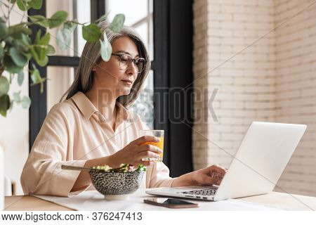 Picture of mature serious concentrated business woman indoors at home using laptop computer