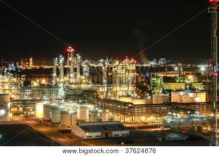 Night scene of chemical plant