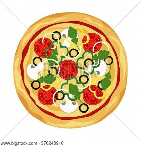 Fresh Pizza With Tomatoes, Peppers, Rucola, Cheese, Mushrooms, Olives And Onion, Traditional Italian