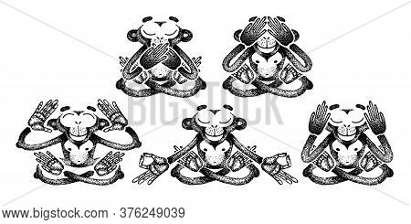 Set Of Monkeys. Monkeys Are Sitting In Different Poses And Meditation. See No Evil, Hear No Evil, Sp