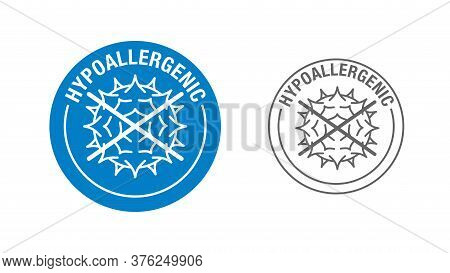 Hypoallergenic Products Or Ingredients Stamp - Crossed Out Allergen In Outline Style And Circular Te