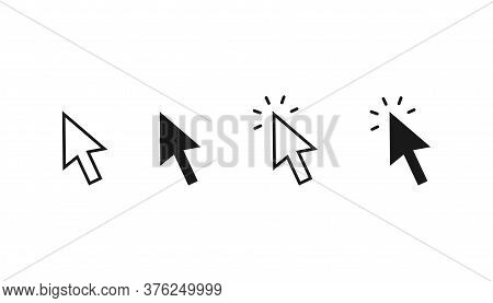 Set Of Clicking Arrows. Outline And Bold Arrow Icons. Cursor Sing With Clicking Effect. Mouse Pointe