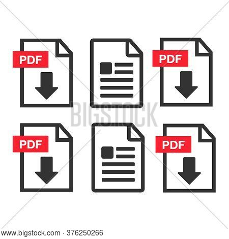 Pdf File Download Icon. Document Text, Symbol Web Format Information. Pdf Icon