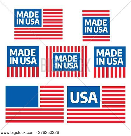 Made In The Usa Vector Badges. Patriotic Icons. American Patriotic Badge