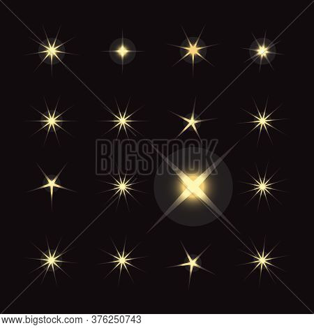 Bright Firework, Decoration Twinkle, Shiny Flash. Sparkle Lights Vector