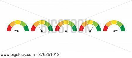 Mood Indicator Level. Rating Scale. Speedometer Measure In Colorful Flat Design. Evaluation Of Servi
