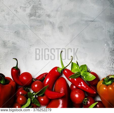 Red Peppers, Tomotoes And Basil, Food Background, Top View