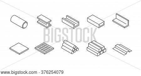Rolled Metal - Set Of Isometric Icons In Thin Line Style For Industry And Metallurgy