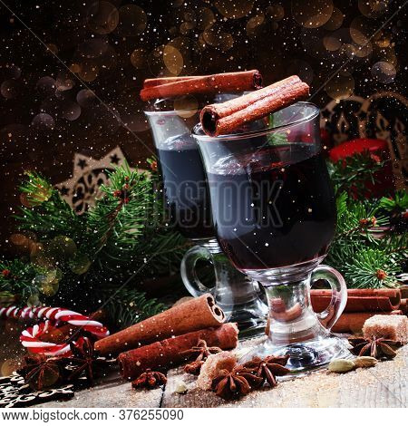 Mulled Wine With Cinnamon And Anise, Selective Focus