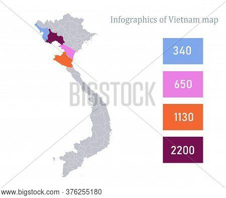 Infographics Of Vietnam Map, Individual Regions Vector
