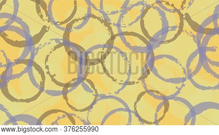 Funky Hand Drawn Circles Geometry Fabric Print. Round Shape Blob Overlapping Elements Vector Seamles