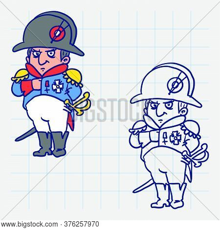 Napoleon Bonaparte Holds His Hand In Jacket. Hand Drawn Character