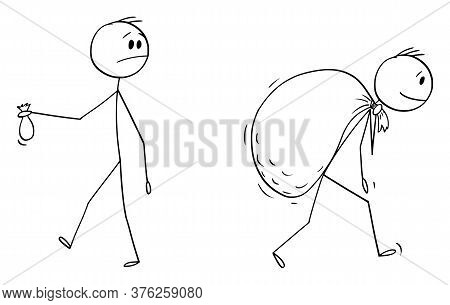 Cartoon Stick Figure Drawing Conceptual Illustration Of Businessman Holding Small Bag And Looking At
