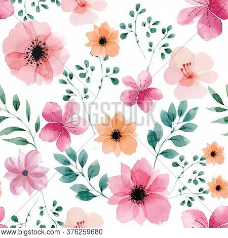 Seamless Pattern With Spring Flowers And Leaves. Hand Drawn Watercolor Background. Floral Pattern Fo