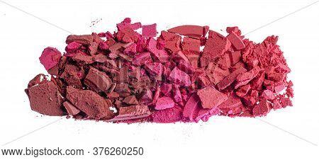 Smashed Pink Blush Cosmetics Isolated On White Background