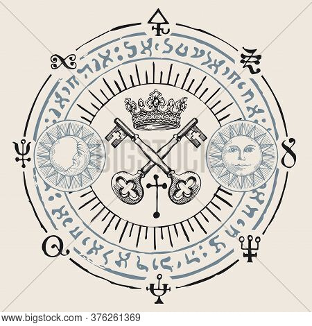 Hand-drawn Crown, Old Crossed Keys And Magical Symbols In Retro Style On A Beige Background. Vector
