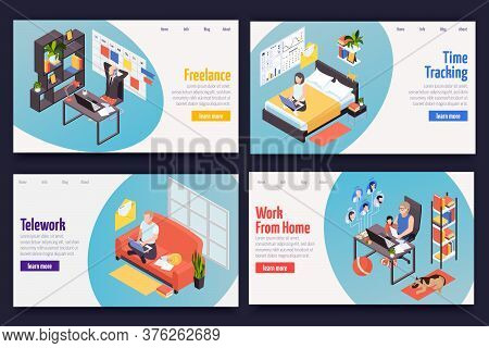 Remote Distant Work Managing Concept 4 Isometric Web Banners With Freelance Teleworking Home Time Tr