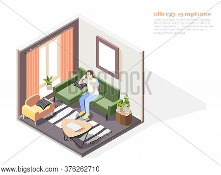 Allergy Symptoms Composition With Nasal Congestion Symbols Isometric Vector Illustration