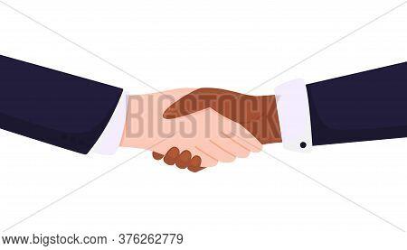 No To Racism. Handshake White And Black Hands.