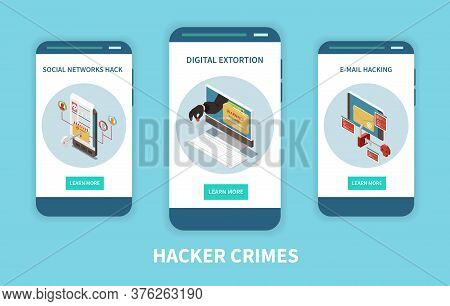 Hacker Fishing Digital Crime Isometric Colored Concept With Hacker Crimes Headline And Descriptions