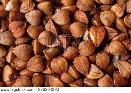 Macro Photo Of Raw Buckwheat. Buckwheat Ordinary. Ingredient For Buckwheat Porridge.