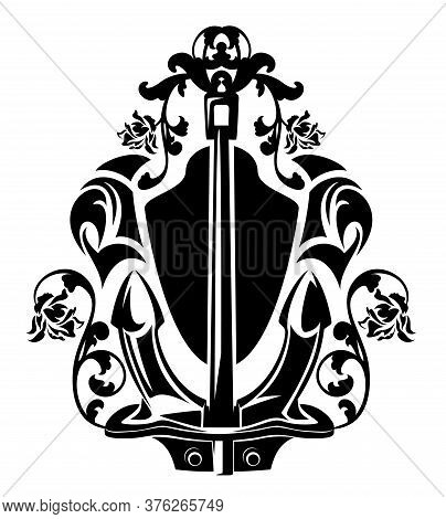 Sea Ship Anchor Among Rose Flowers With Heraldic Shield - Maritime Symbol Black And White Vector Out
