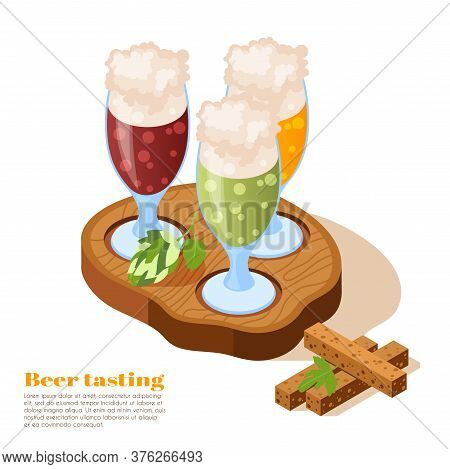 Beer Tasting Glasses With Foam On Top On Wooden Tray With Hop Twigs Isometric Background Vector Illu