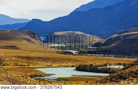 Beautiful mountain landscapes in Patagonia. Mountains lake in Argentina, South America.