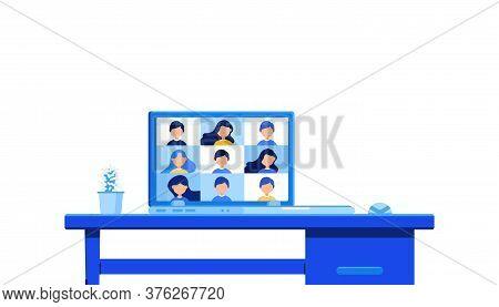 Online School Training Concept. Digital Online Education Application Learning World Wide On Laptop W
