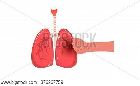 Severe Pain In The Lungs From A Disease. Human Fist Beats Easy Metaphor Concept.
