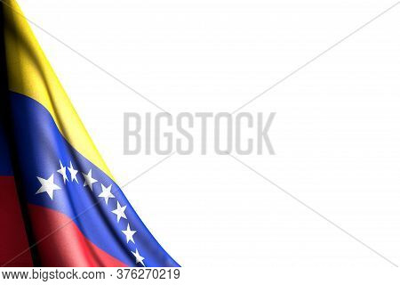 Pretty Isolated Photo Of Venezuela Flag Hangs Diagonal - Mockup On White With Place For Content - An