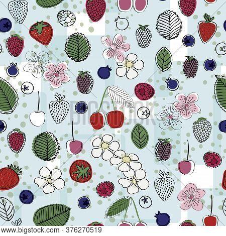 Vector Red Cherries, Strawberries, Rasberries, Blackberries, Blueberries And Flowers On Blue White B