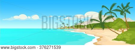 Tropical Sandy Beach Flat Color Vector Illustration. Wild Sea Shore And Palm Trees Scene. Marine Tow