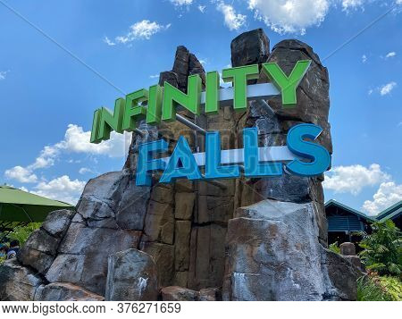 Orlando, Fl/usa-7/12/20: The Sign At The Entrance Of The Infinity Falls Water Ride At Seaworld In Or