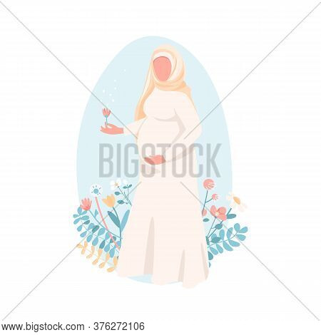 Pregnant Muslim Woman Flat Color Vector Faceless Character. Happy Young Mother. Female With Baby Bel