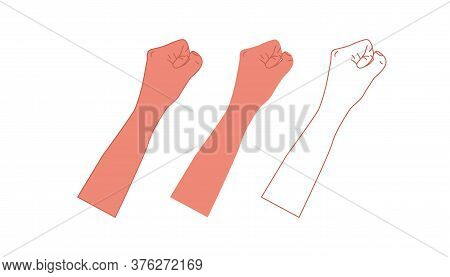Silhouette Male Fist Growth On A White Background With White Lines Defining The Fingers And Thumb. A