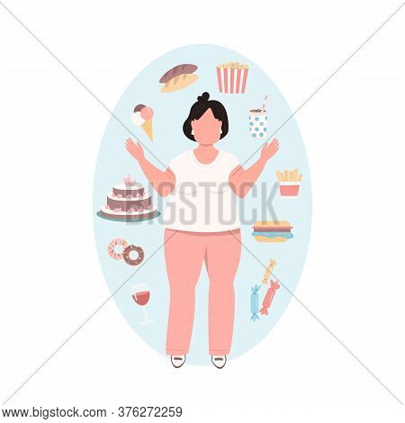 Obese Woman Flat Color Vector Faceless Character. Overweight Girl In Pink Pants With Unhealthy Diet.