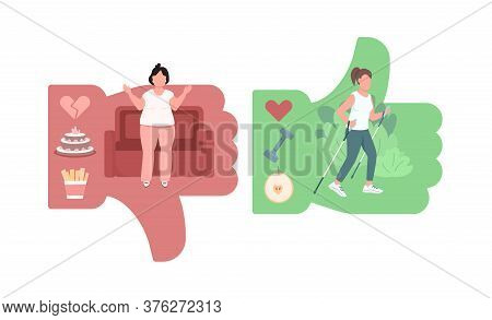 Women Lifestyle Comparison Flat Concept Vector Illustration. Bad Habits For Overeating. Active Livin